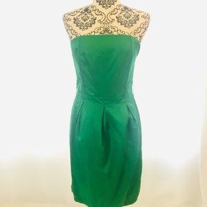 H&M Satin Kelly Green Strapless Dress